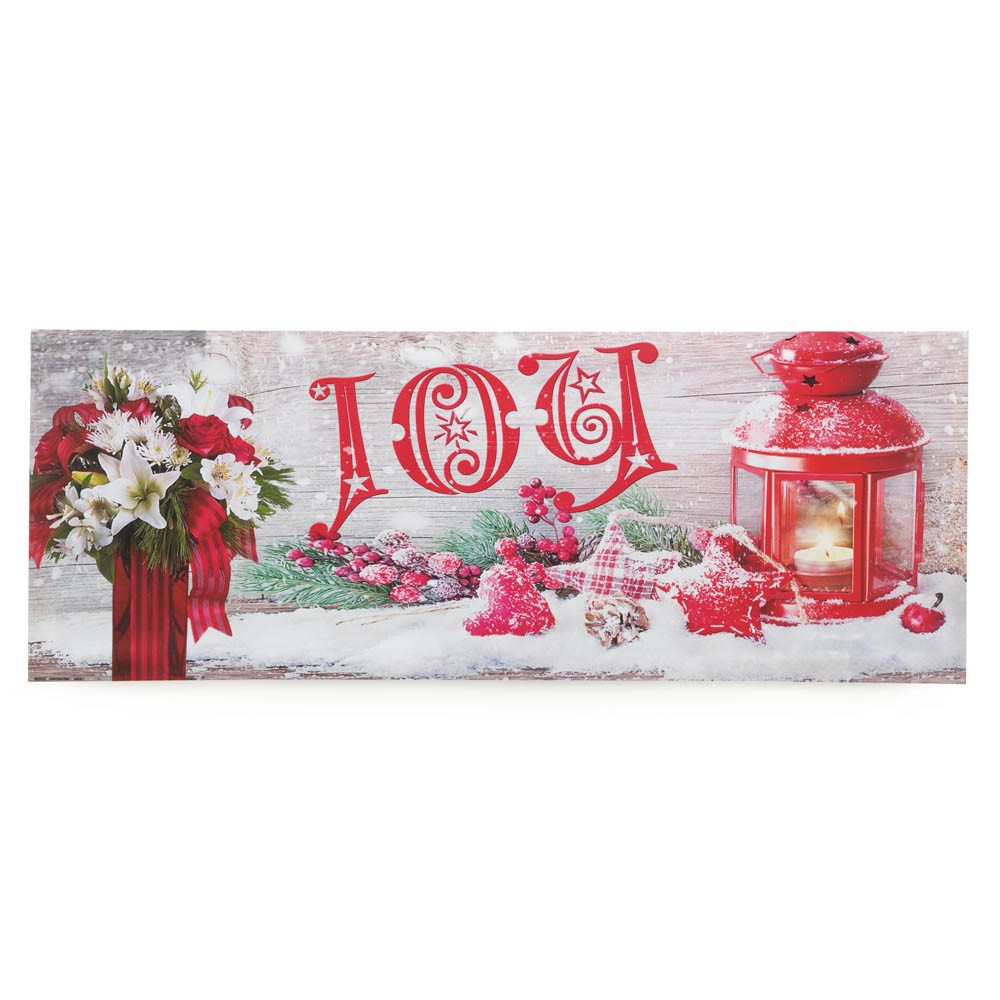 Joy canvas wood christmas winter wall art with led lights home decor ebay - Christmas wall decorations ...