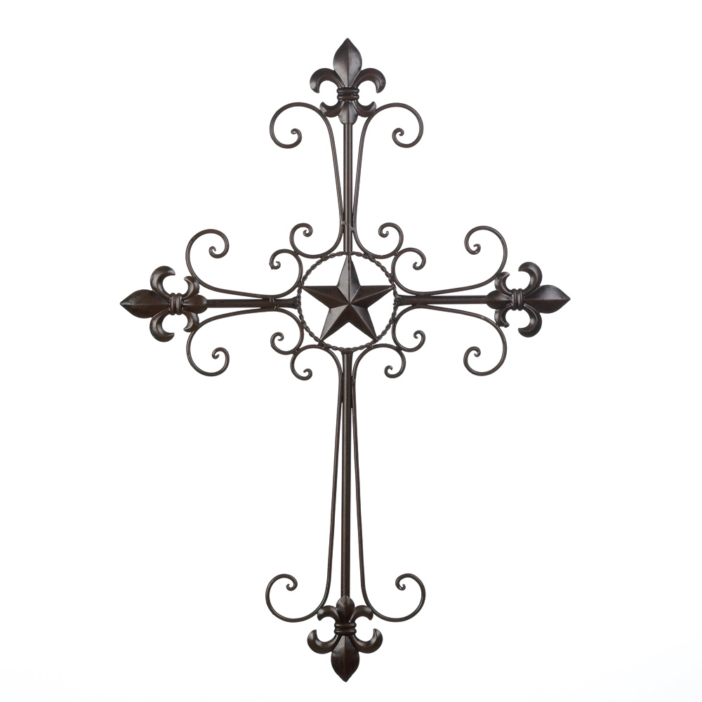 Wrought iron fleur de lis wall cross hanging home decor for Wrought iron decorations home
