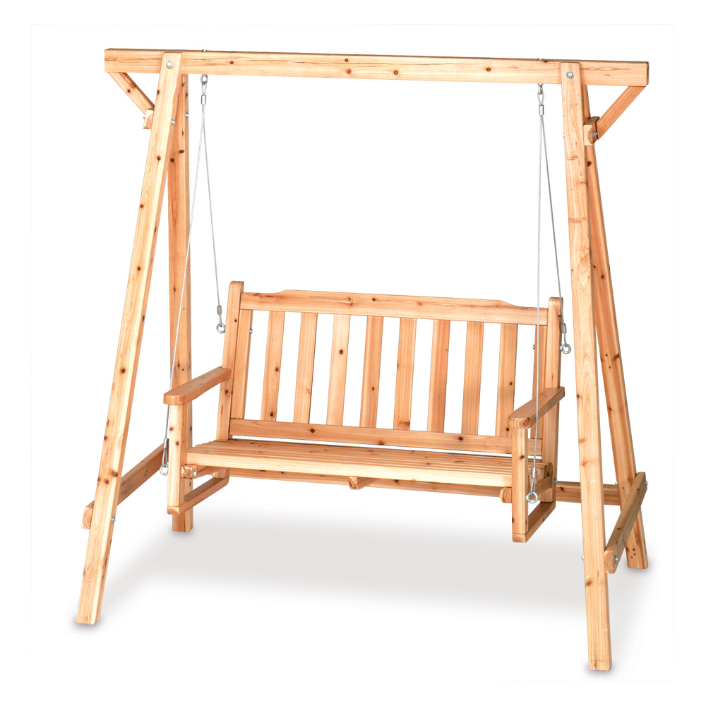 Outdoor Garden Swing Rustic Pine Yard Patio Swinging Bench Seat Outside Resting Ebay