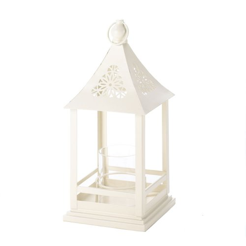 Beautiful White Floral Cutout Lantern With Glass Hurricane