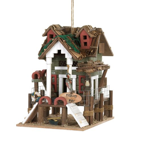 Charmingly Detailed Fishing Pier BIRDHOUSE