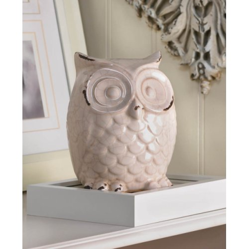 Wide Eyed Glazed White Owl Statue Figurine Home Living
