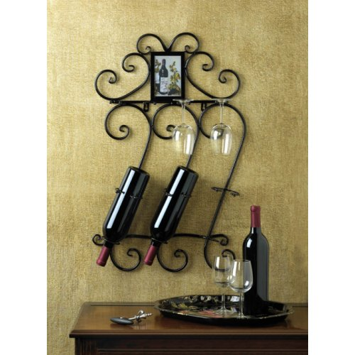 NEW WROUGHT IRON WINE WALL RACK HOLDS 3 BOTTLES 4 GLACES WALL MOUNT