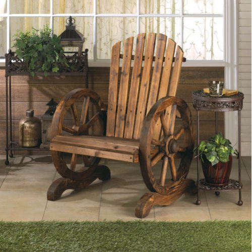 Old country wood wagon wheel chair outdoor garden decor ebay for Wooden garden ornaments and accessories