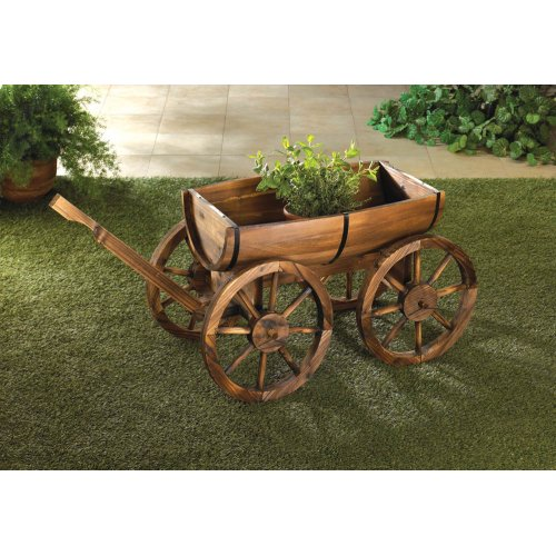 Wooden apple barrel planter wagon potted plants herbs for Wooden garden ornaments and accessories