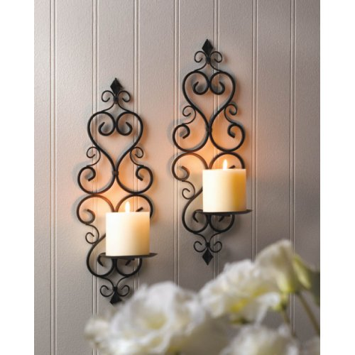 Indoor Candle Wall Sconces : Black Iron Fleur De Lis Candle Wall Sconces Indoor Decor eBay