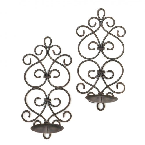 Black Iron Scrollwork Candle Wall Sconces