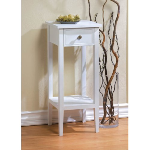 Classic White Side Table With Drawer