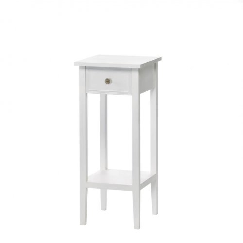 Classic white side table with drawer small telephone for Slim side table