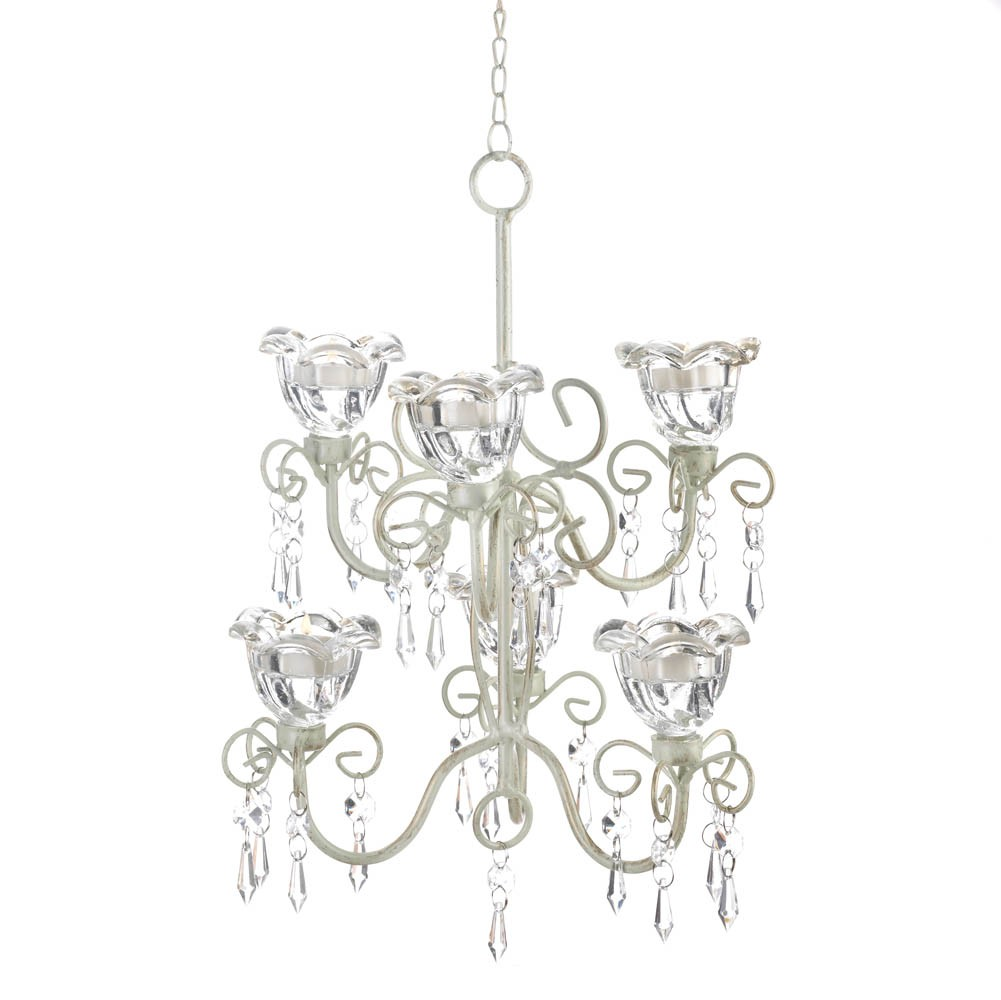 Crystal Flowers Blooms Double Chandelier Candle Holder