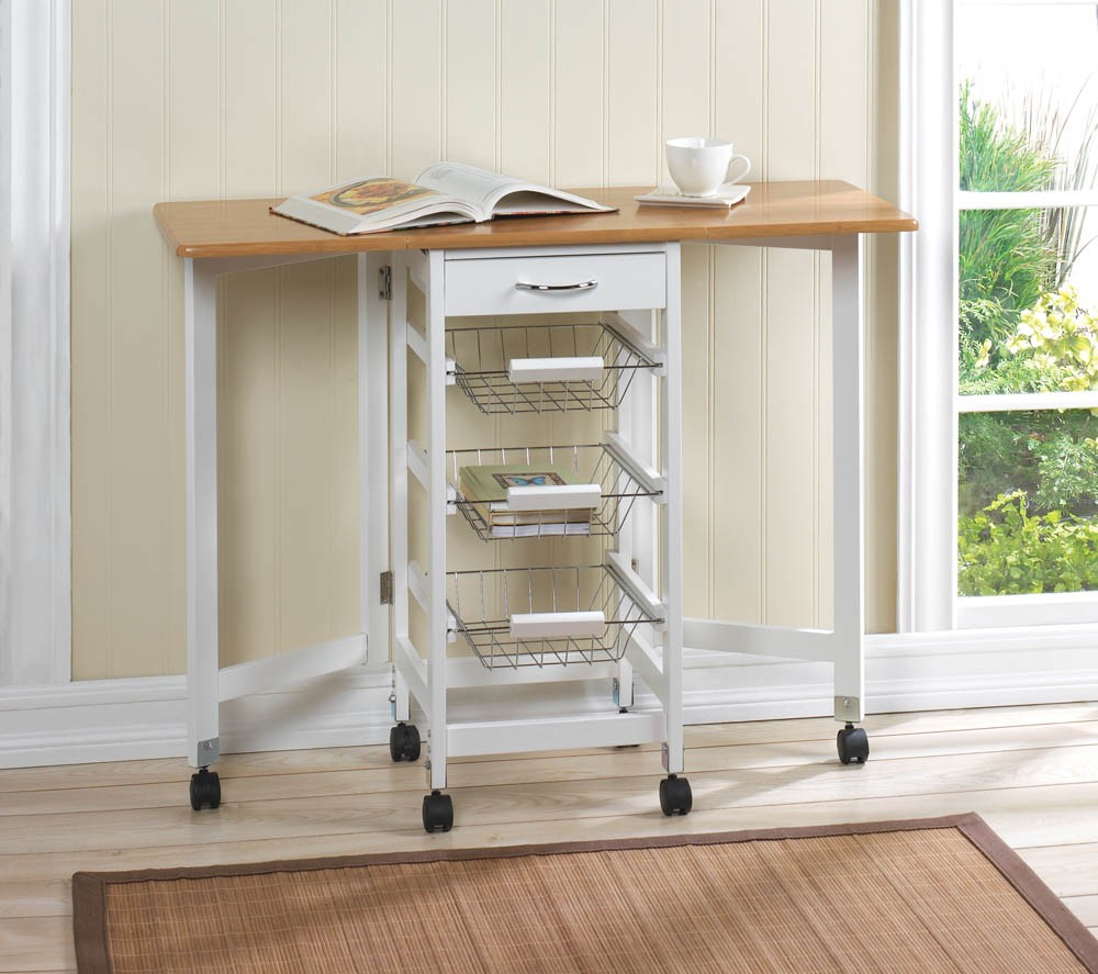 Kitchen trolley extended table extra work station 3 wire for Extra storage for small kitchen