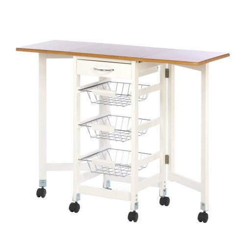 Kitchen Trolley Extended Table Extra Work Station 3 Wire Baskets Storage Ebay
