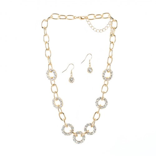 Crystal And Golden Links NECKLACE and Earrings Jewelry Set