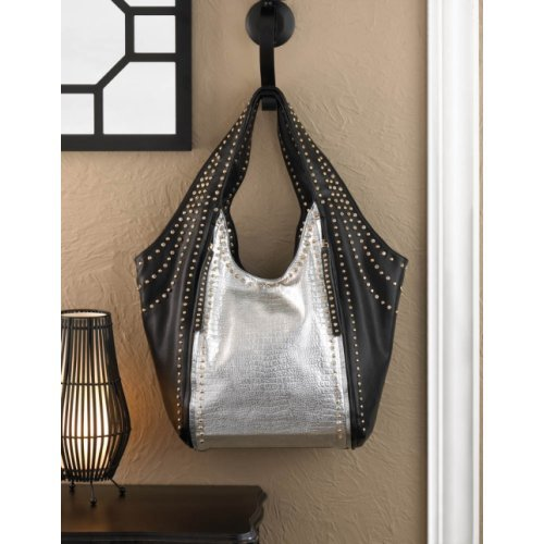 breezy couture studded black and silver leatherette shoulder bag or tote bag ebay. Black Bedroom Furniture Sets. Home Design Ideas