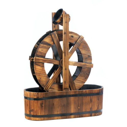 Wooden Water Wheel Fountain Outdoor Lawn Ornament Spinning
