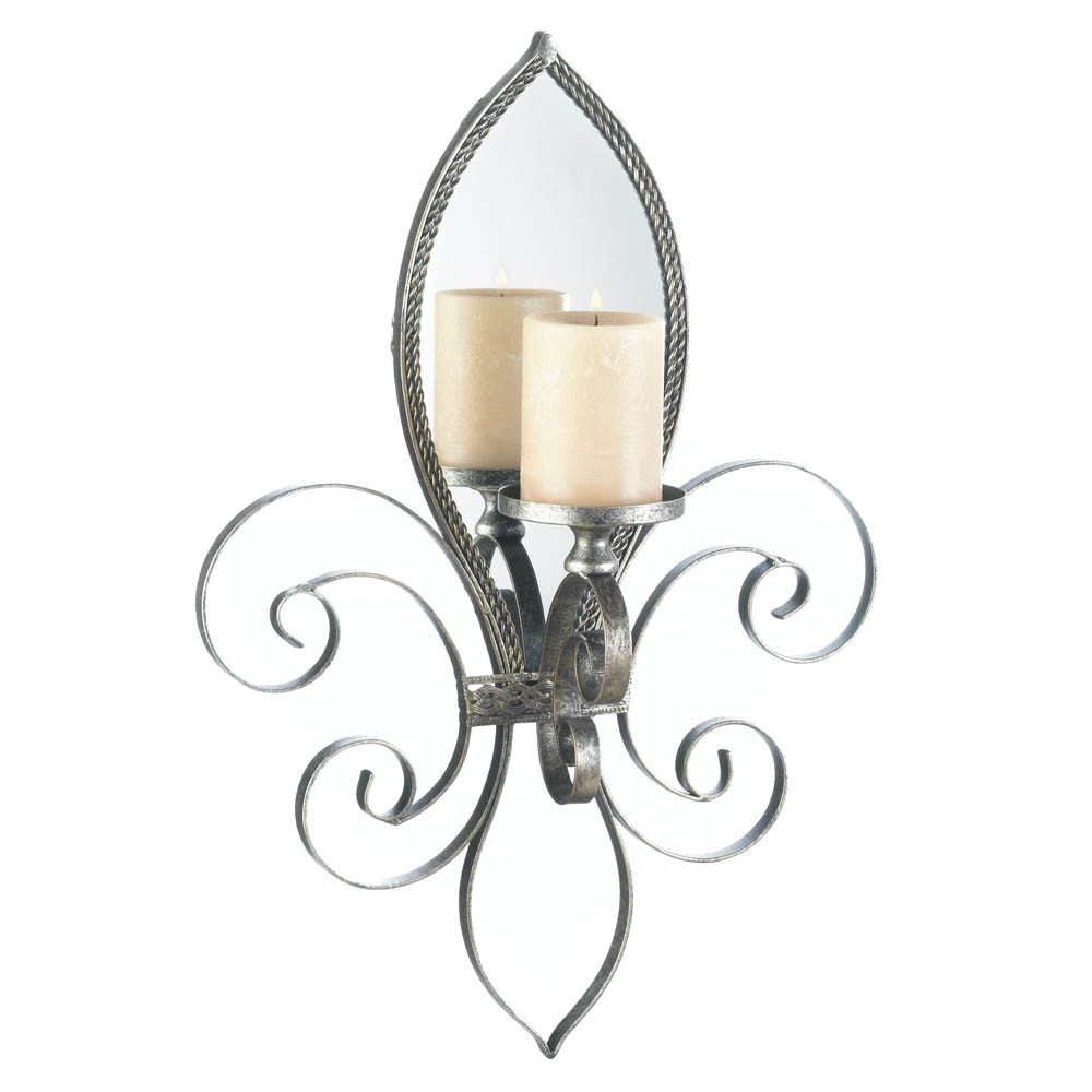 Mirrored Wall Sconces Candle Holder : Mirrored Wall Sconce Candle Holder Votive Tea Light Iron Mirror French Tealight eBay