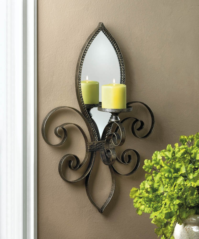 mirrored wall sconce candle holder votive tea light iron mirror french tealight ebay. Black Bedroom Furniture Sets. Home Design Ideas