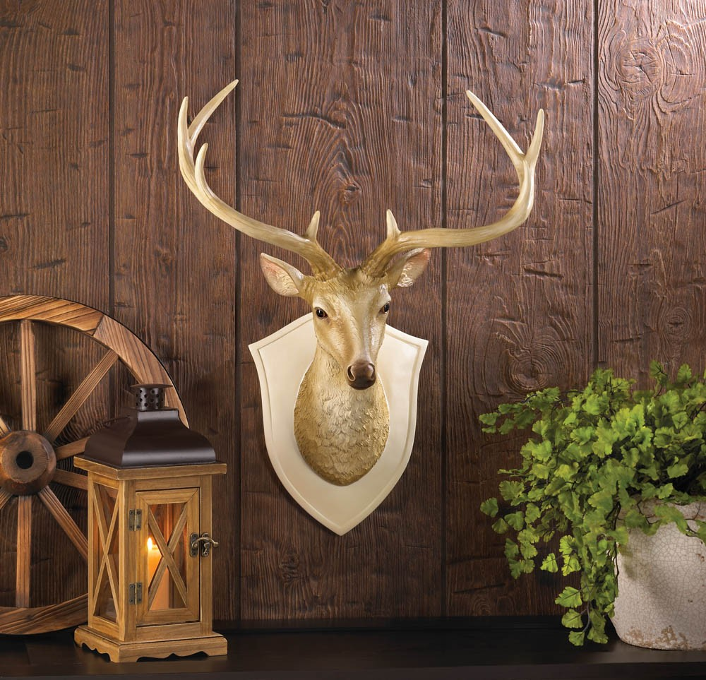 Deer head wall mount bust art antlers buck sculpture faux for Antlers decoration