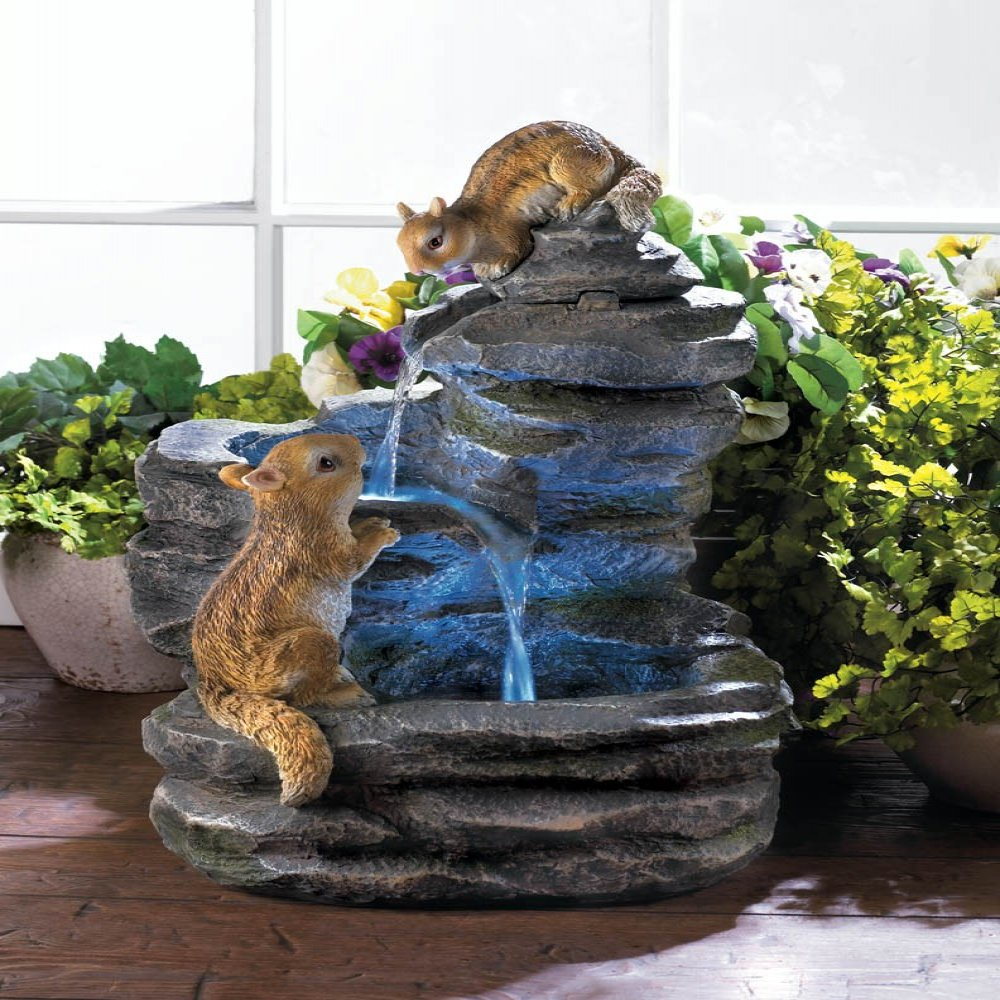 Charming chipmunks outdoor electric water fountain garden for Garden water fountains