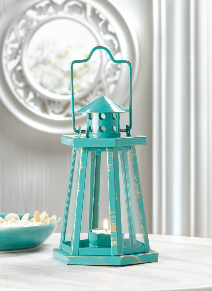 Blue aqua lighthouse mini lantern candle tea light beach