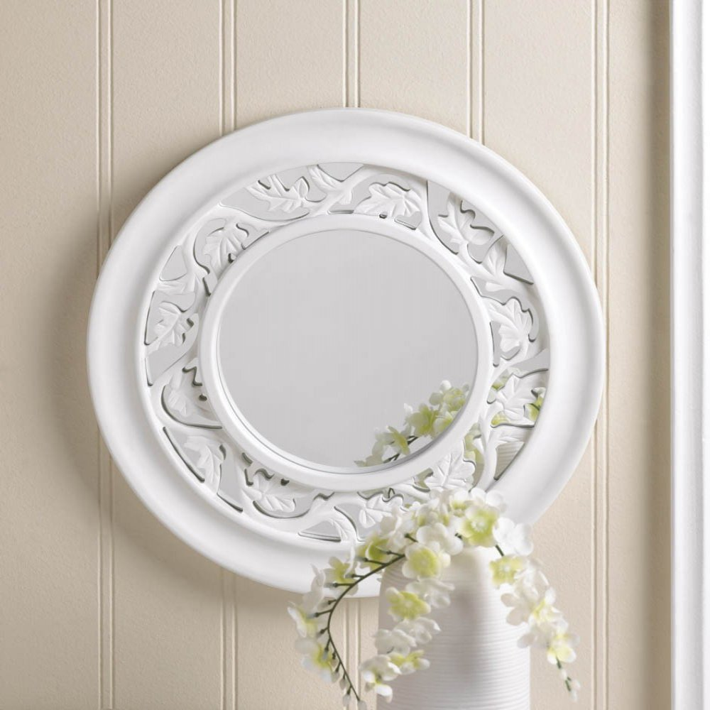 Ivy white wall mirror round wooden new home decor ebay for Small white framed mirrors