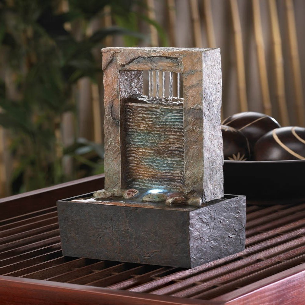 Home Locomotion Polyresin Cascading Water Tabletop Fountain