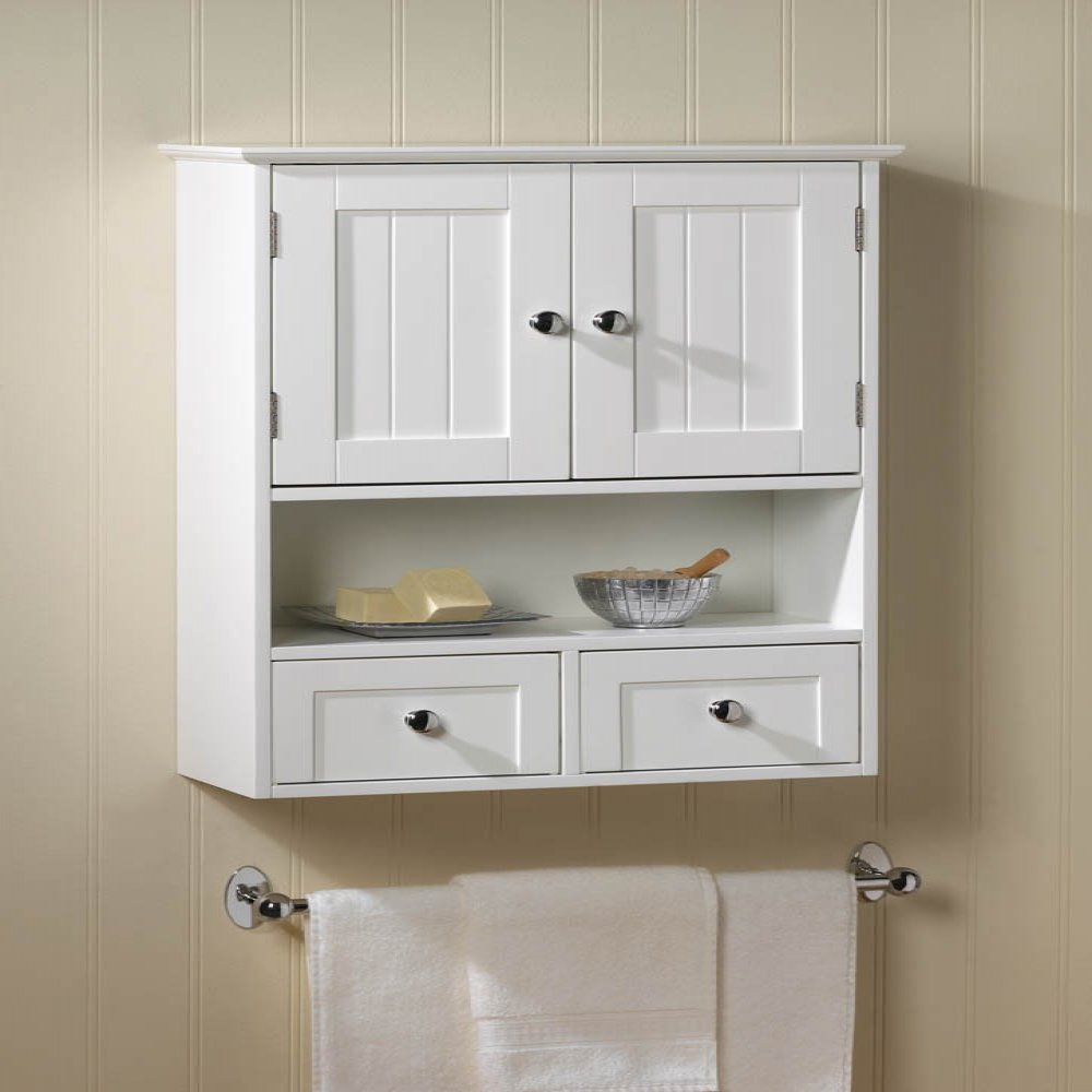 New white wood nantucket wall cabinet storage doors - Bathroom storage cabinet with drawers ...