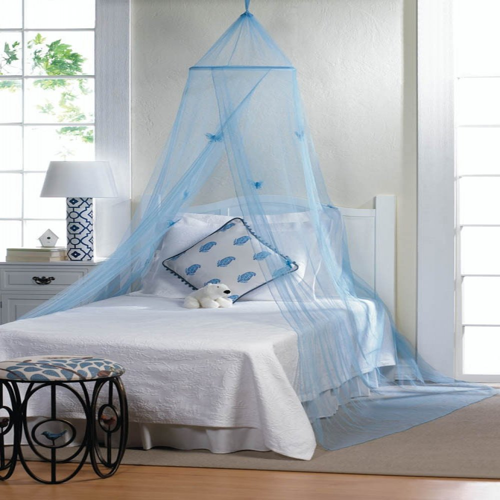 Blue hanging hoop netting with butterflies for baby boy for Hanging canopy over bed