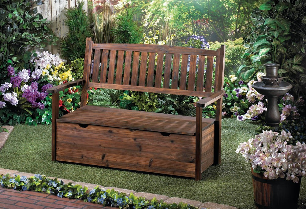 GARDEN GROVE WOODEN STORAGE BENCH PATIO GARDEN eBay