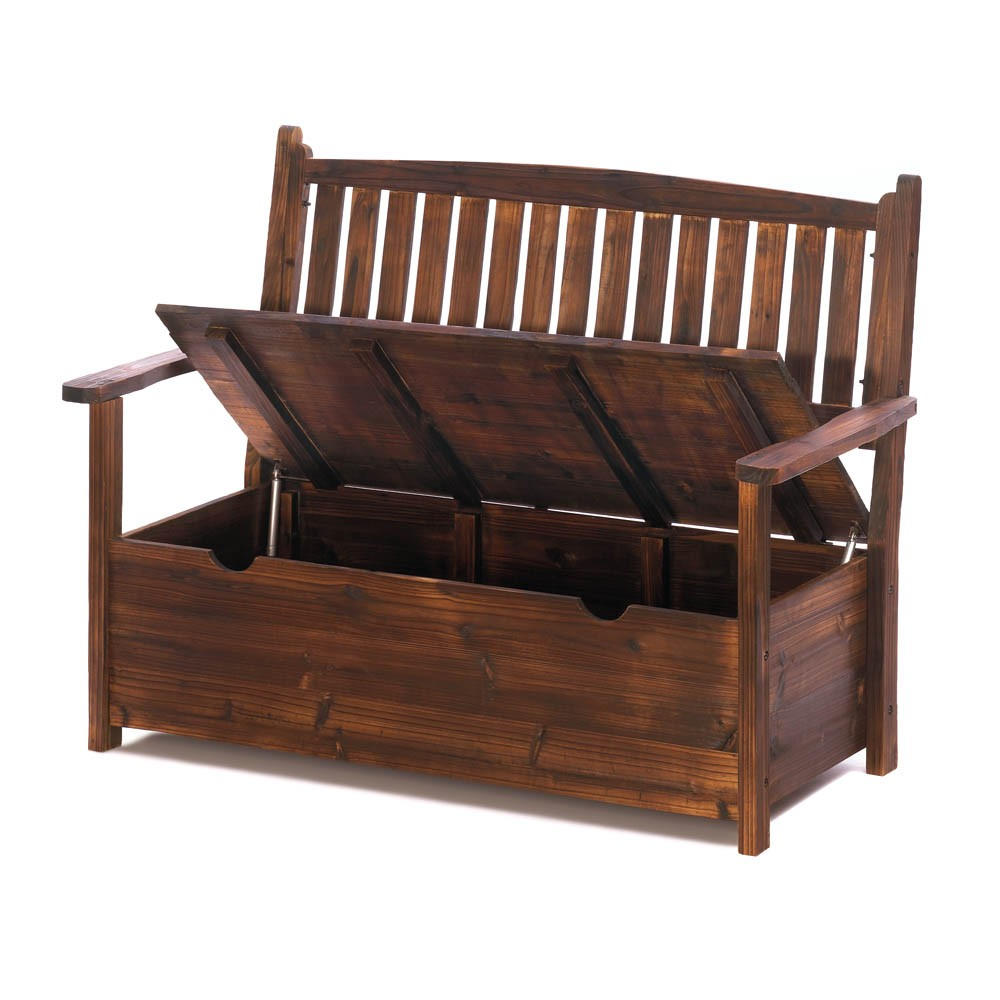 New storage box bench patio furniture fir wood garden yard for Chair with storage