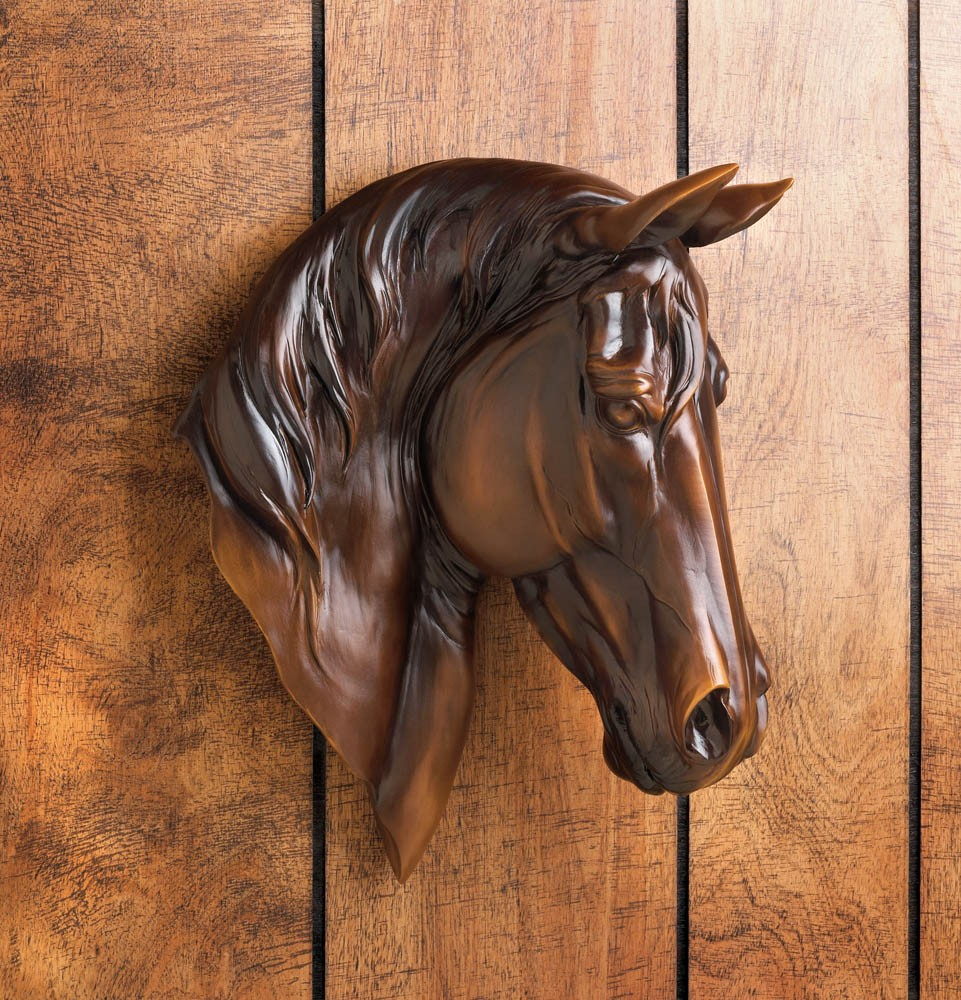 Equine Home Decor: Chestnut Brown Horse Bust Wall Mount Western Rustic Home