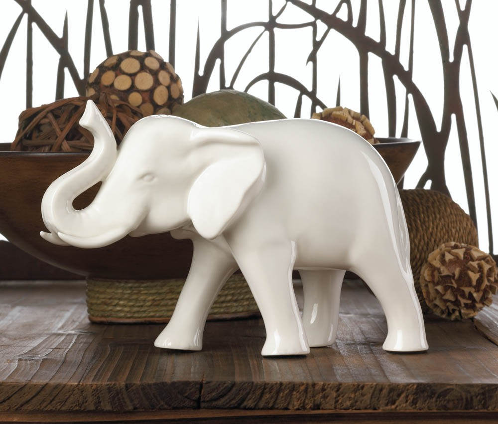 White ceramic sleek elephant african asian modern home African elephant home decor