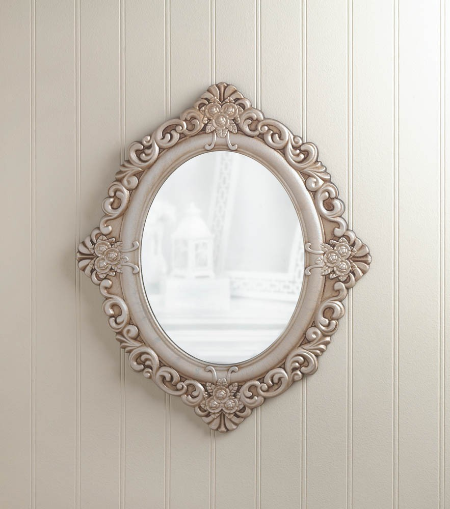 Vintage estate wall mirror antique style oval w wood frame for Old style mirror