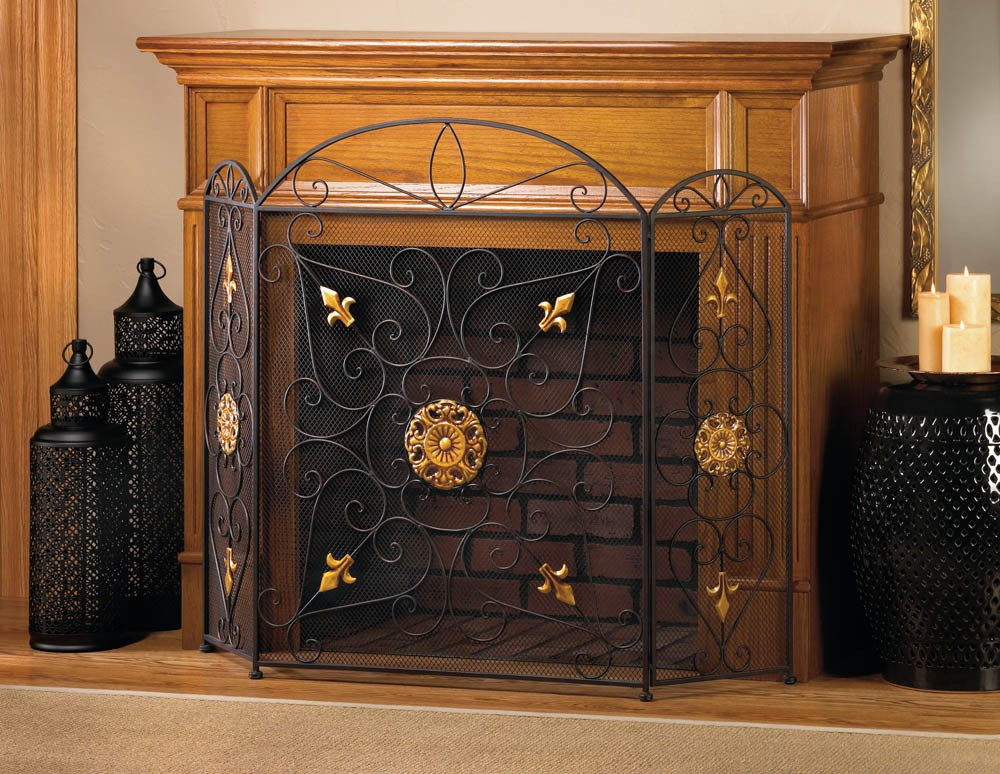 Splendor Fireplace Screen Black Iron Mesh Embellished With