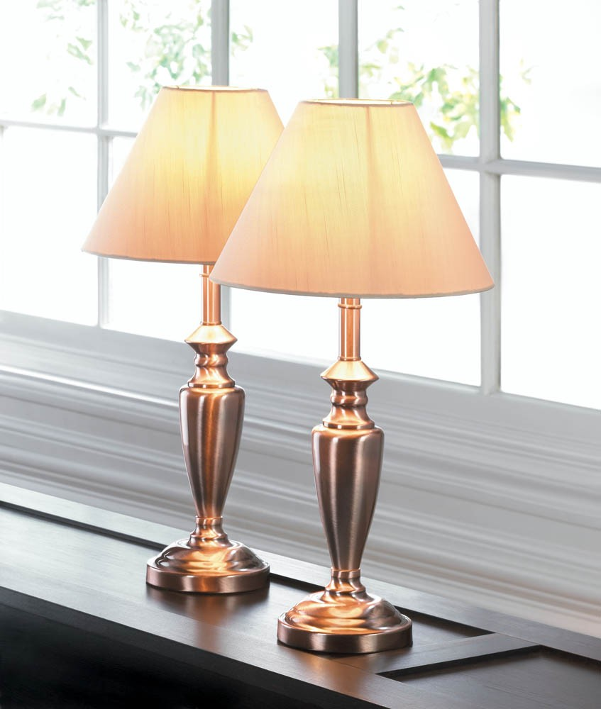 Table lamp set antique copper lamp trio includes 2 table 1 tall floor and shades ebay Home decorators lamp shades