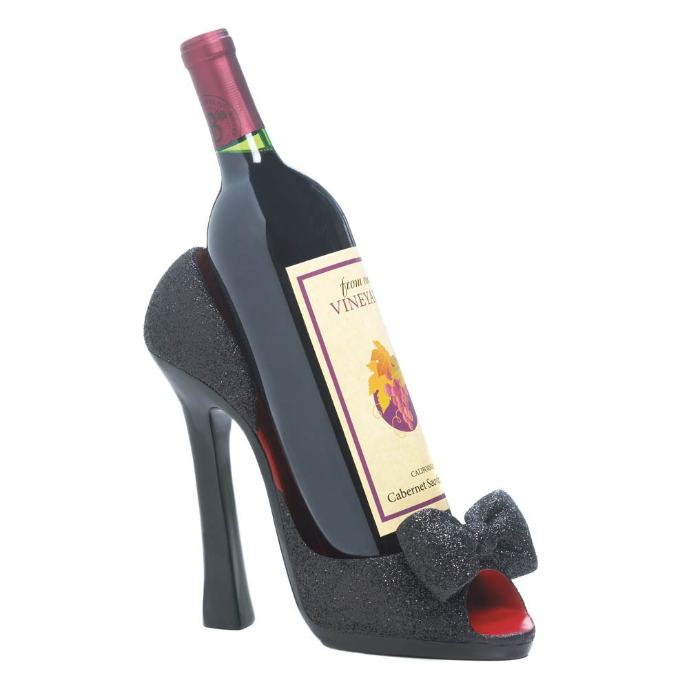 New Black Peep Toe High Heel Shoe Wine Holder Stopper Set