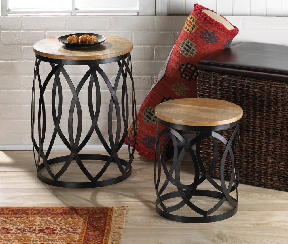 End table set coffee furniture accent round wood metal for Living room table decor