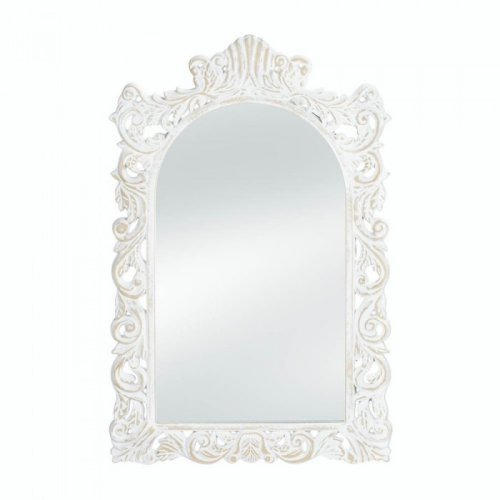 White wall mirror framed chic shabby wood decorative - White wood framed bathroom mirrors ...