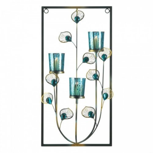 Peacock Three Candle Wall Sconce