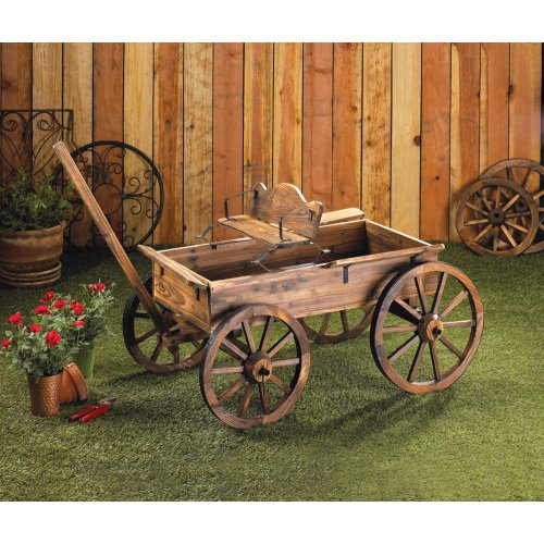 Old time buckboard style garden wagon w real moveable for Things to do with old wagon wheels