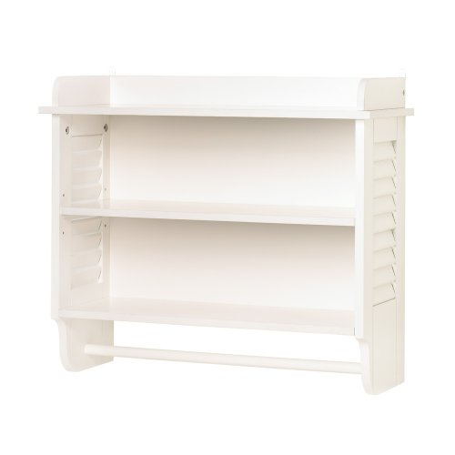 Nantucket White Wood Wall Mount Cabinet Bathroom Storage