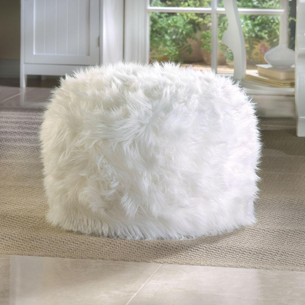 Fuzzy White Ottoman Footstool Soft Chic Cozy Fun Bench