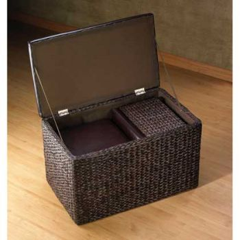 3 Pc Living Set Coffee Table Ottoman Storage Chest Brown Wicker Padded Top Cubes Ebay