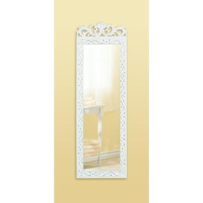 White wall mirror large weathered wood floral crown for Long white wall mirror