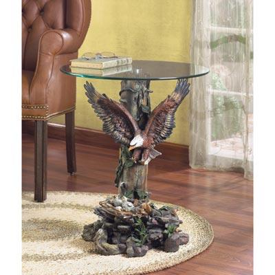 Dramatic eagle table home decor polyresin base tempered for Eagle decorations home
