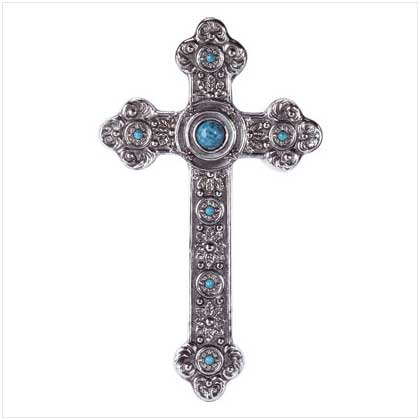 Spanish style wall cross silver turquoise home decor new ebay Home decor wall crosses