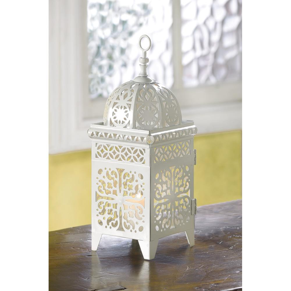 Lot white scrollwork candle lantern wedding