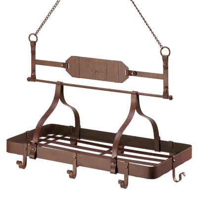 Rustic country cow iron kitchen rack hanging pot pan for Overhead pots and pans rack