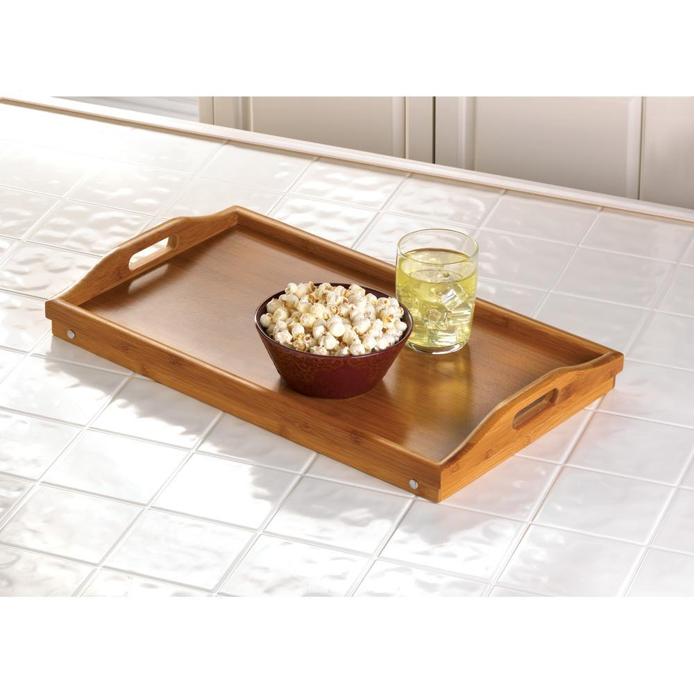 New Bamboo Serving Tray Folding Lap Desk Table Laptop