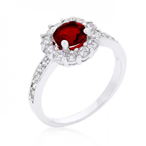 GARNET Halo Engagement Ring (Size: 08)